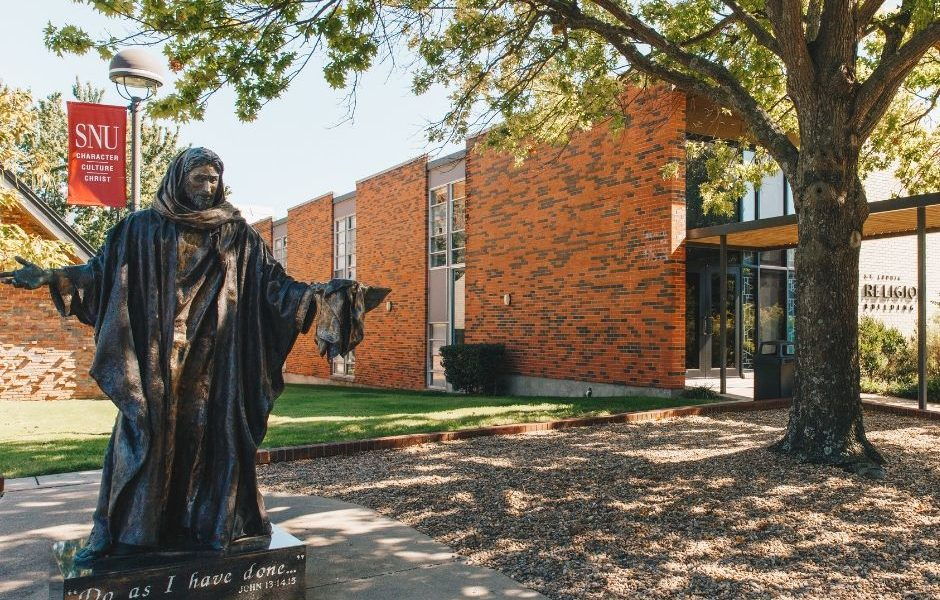Statue of Jesus outside SNU's campus