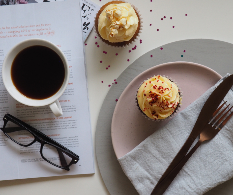cupcake and a cup of coffee